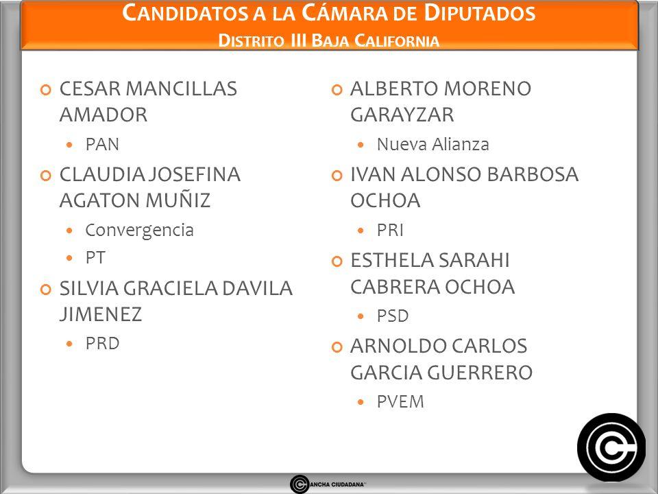 Candidatos a la Cámara de Diputados Distrito III Baja California