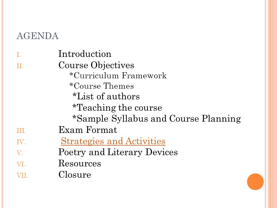 agenda Introduction Course Objectives *List of authors
