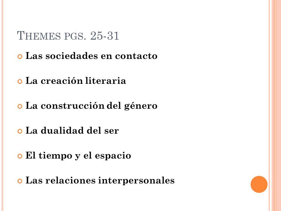 Themes pgs. 25-31 Las sociedades en contacto La creación literaria
