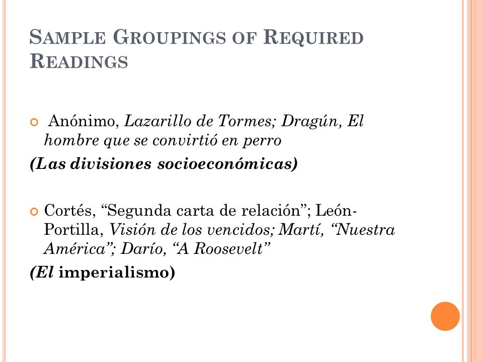 Sample Groupings of Required Readings