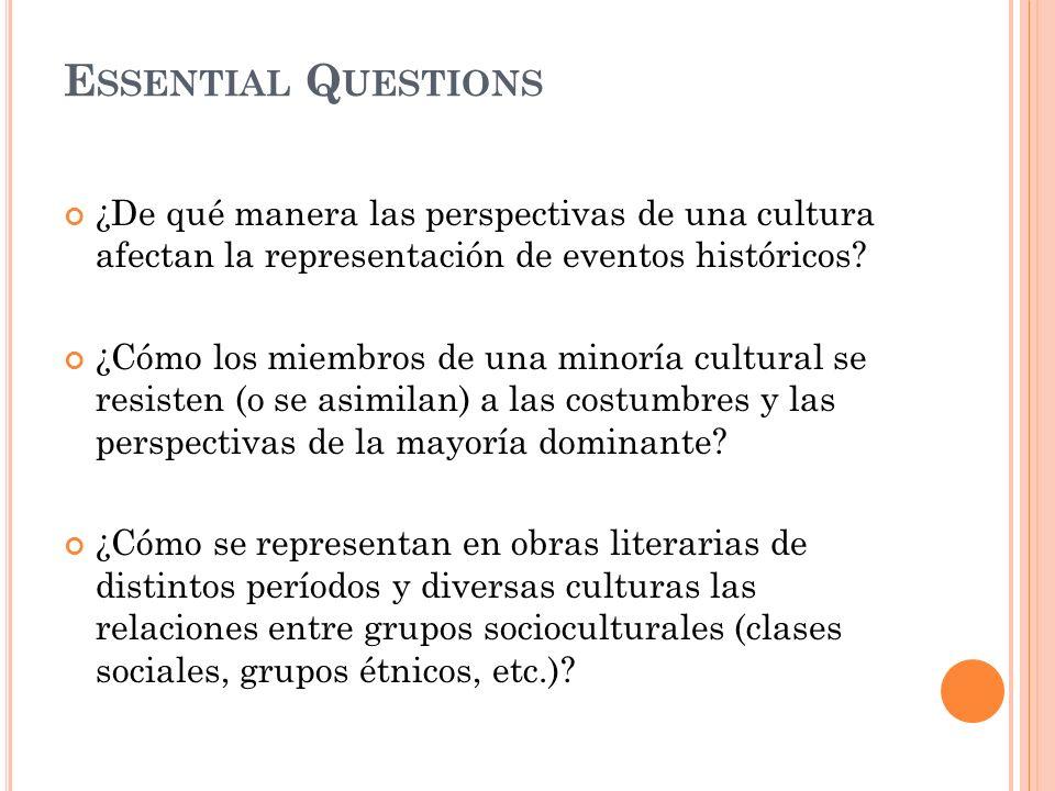 Essential Questions ¿De qué manera las perspectivas de una cultura afectan la representación de eventos históricos