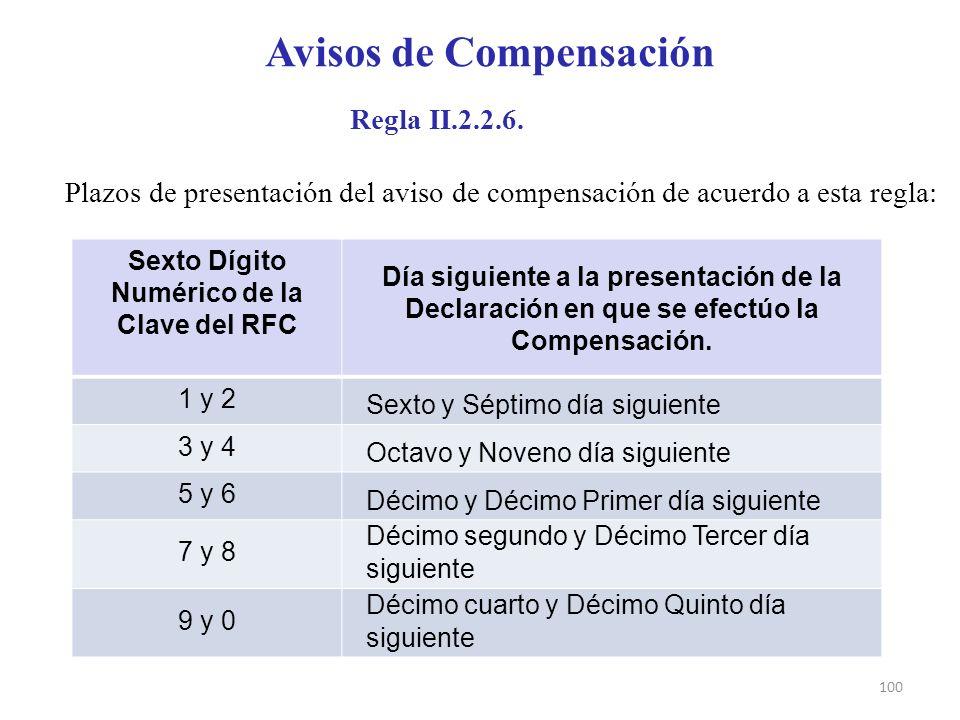 Avisos de Compensación Sexto Dígito Numérico de la Clave del RFC