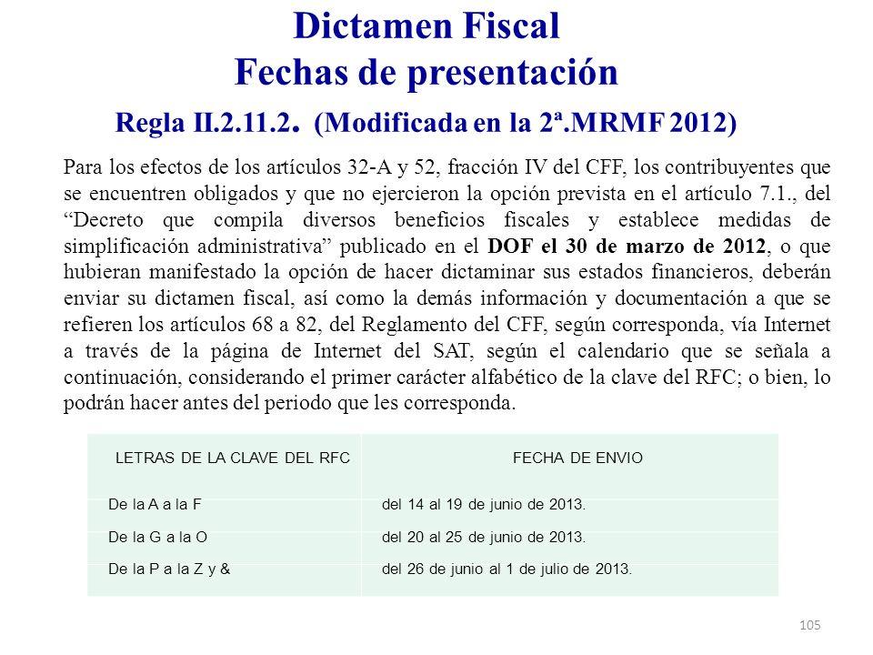 Dictamen Fiscal Fechas de presentación