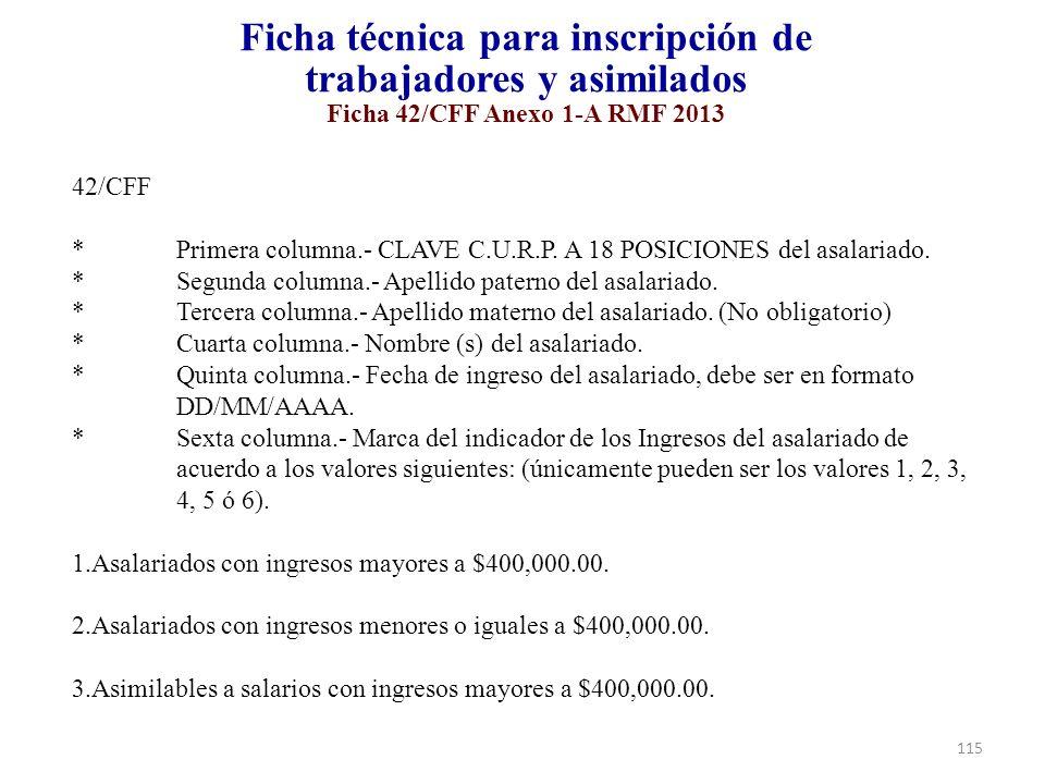 Ficha técnica para inscripción de trabajadores y asimilados