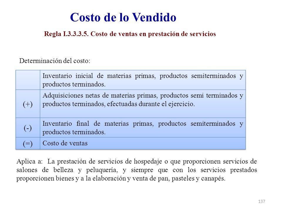 Regla I.3.3.3.5. Costo de ventas en prestación de servicios