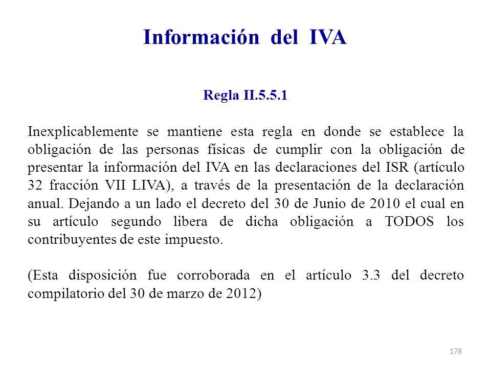 Información del IVA Regla II.5.5.1