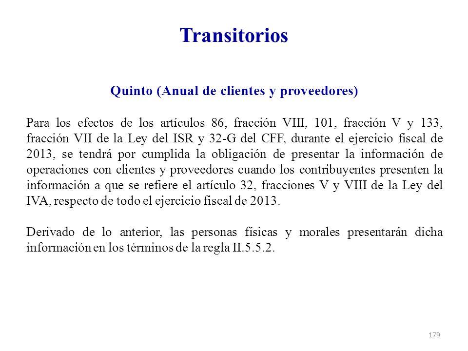 Quinto (Anual de clientes y proveedores)