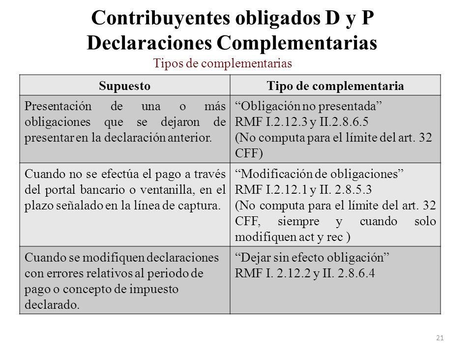 Contribuyentes obligados D y P Declaraciones Complementarias