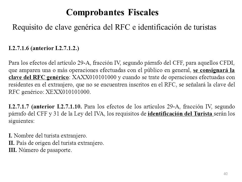 Requisito de clave genérica del RFC e identificación de turistas