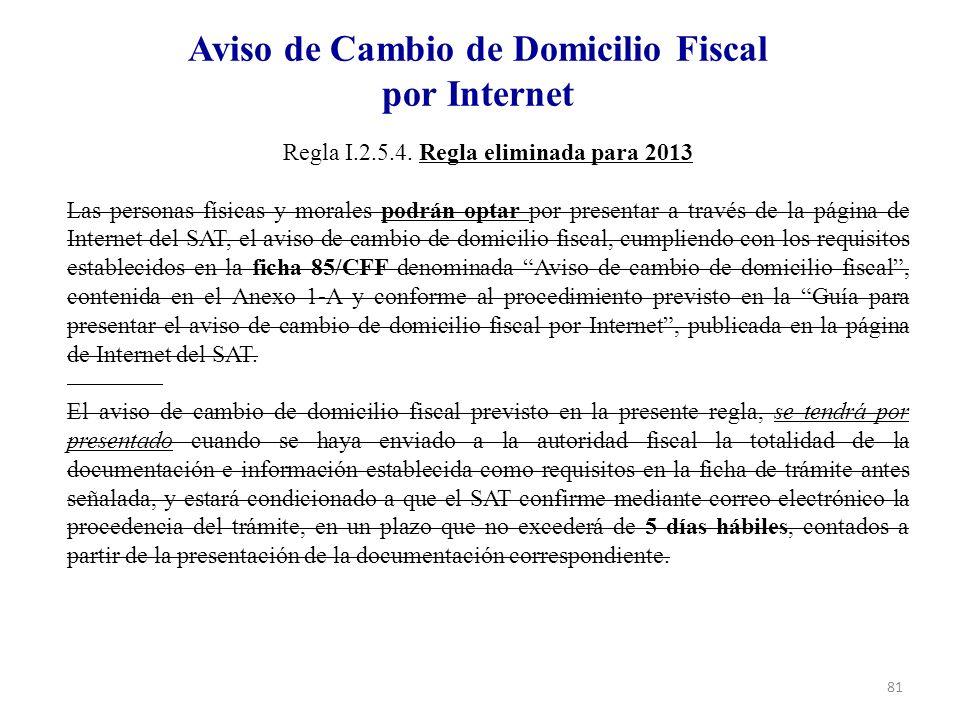 Aviso de Cambio de Domicilio Fiscal