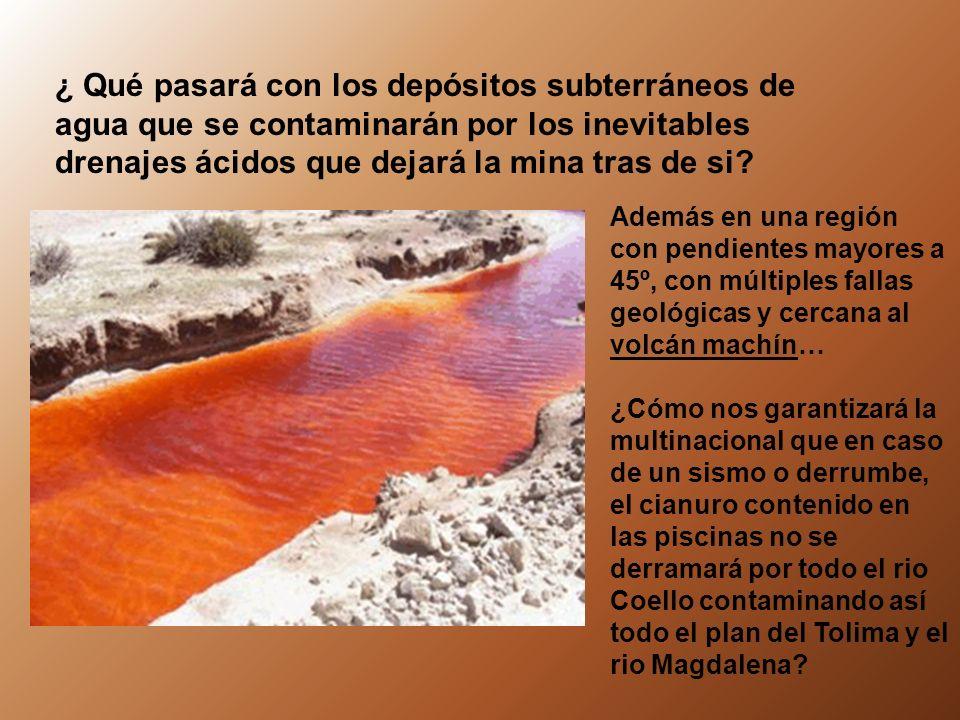 ¿ Qué pasará con los depósitos subterráneos de agua que se contaminarán por los inevitables drenajes ácidos que dejará la mina tras de si