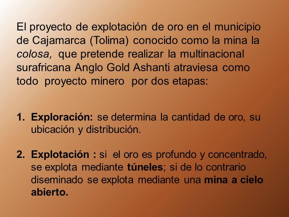 El proyecto de explotación de oro en el municipio de Cajamarca (Tolima) conocido como la mina la colosa, que pretende realizar la multinacional surafricana Anglo Gold Ashanti atraviesa como todo proyecto minero por dos etapas: