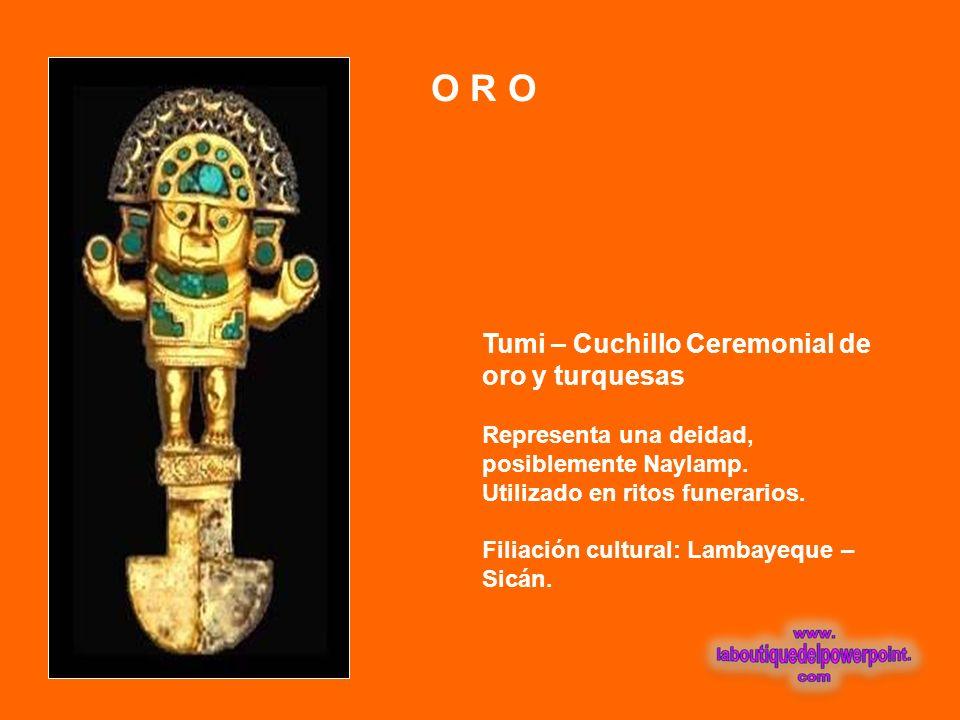 O R O Tumi – Cuchillo Ceremonial de oro y turquesas