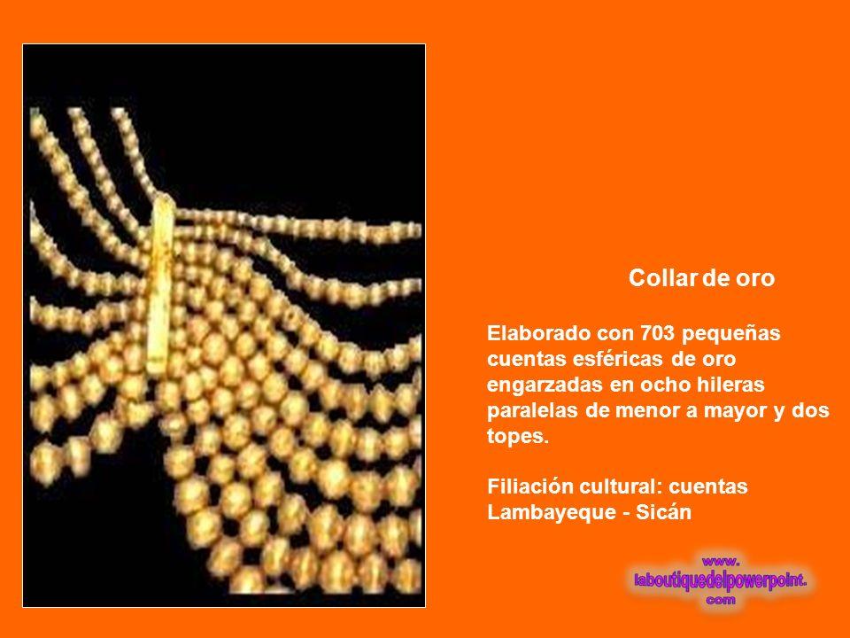 Collar de oro Elaborado con 703 pequeñas cuentas esféricas de oro engarzadas en ocho hileras paralelas de menor a mayor y dos topes.
