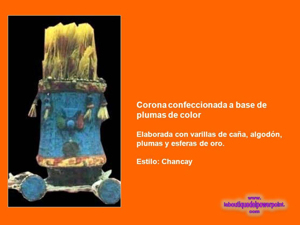 Corona confeccionada a base de plumas de color