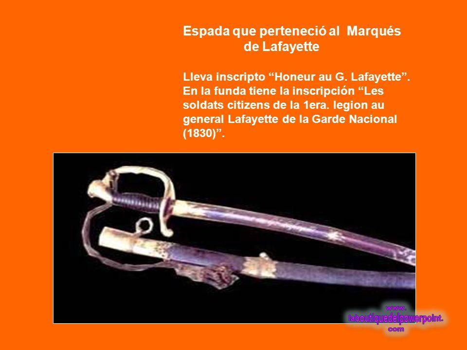 Espada que perteneció al Marqués de Lafayette