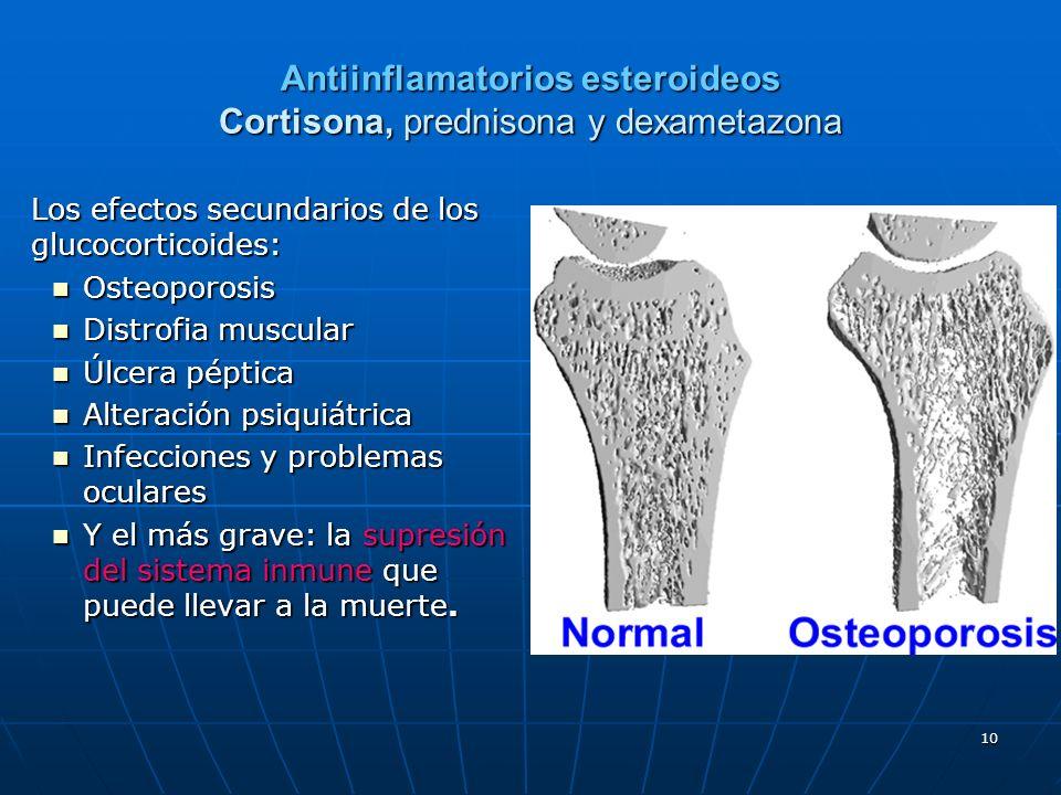 Antiinflamatorios esteroideos Cortisona, prednisona y dexametazona