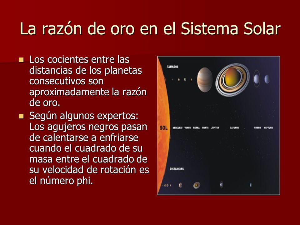 La razón de oro en el Sistema Solar