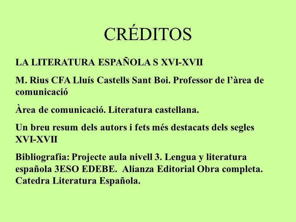 CRÉDITOS LA LITERATURA ESPAÑOLA S XVI-XVII