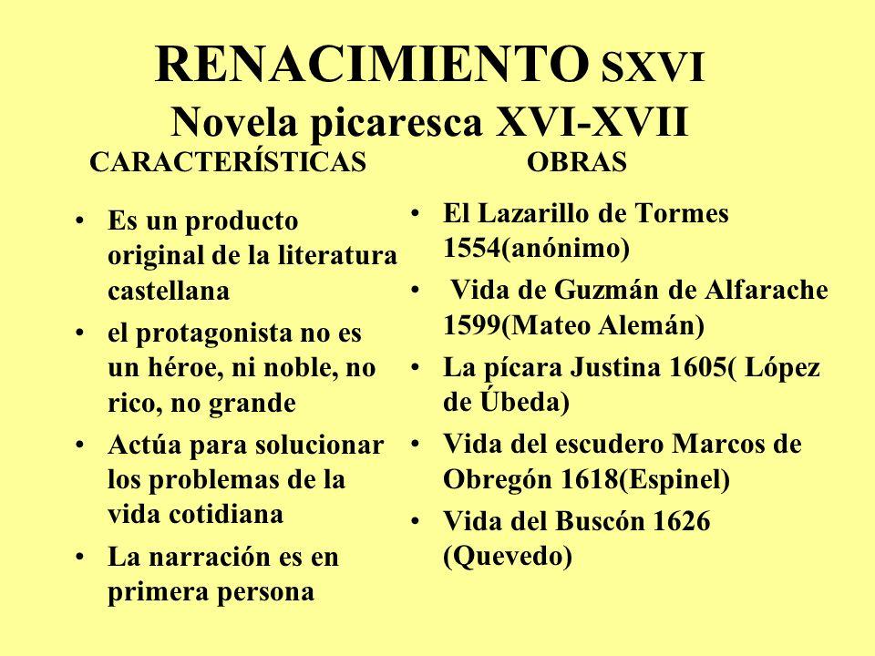RENACIMIENTO SXVI Novela picaresca XVI-XVII
