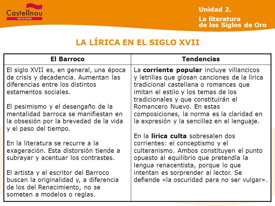 LA LÍRICA EN EL SIGLO XVII