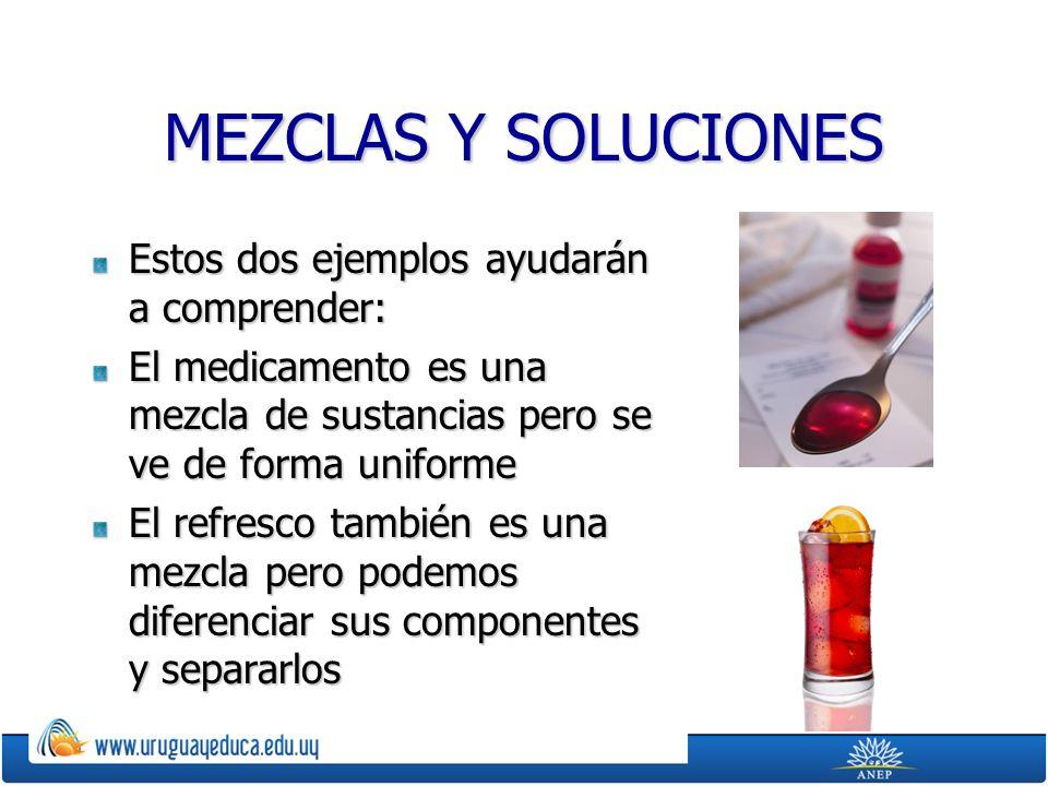 MEZCLAS Y SOLUCIONES Estos dos ejemplos ayudarán a comprender: