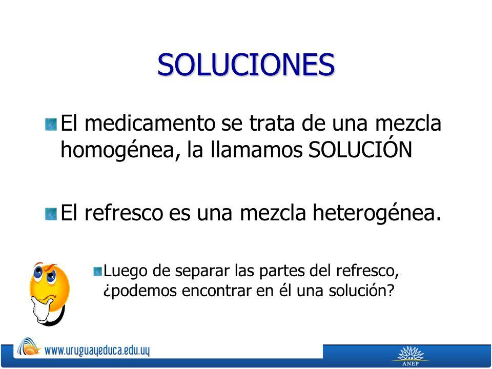 SOLUCIONES El medicamento se trata de una mezcla homogénea, la llamamos SOLUCIÓN. El refresco es una mezcla heterogénea.