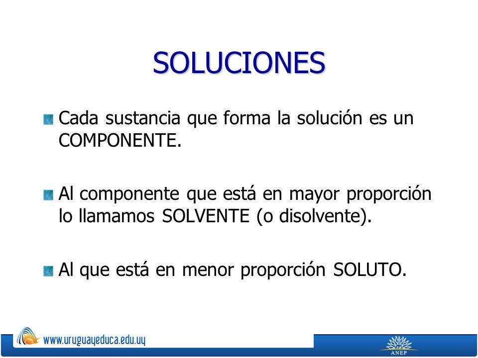 SOLUCIONES Cada sustancia que forma la solución es un COMPONENTE.