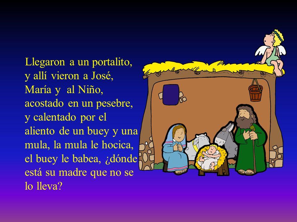 Llegaron a un portalito, y allí vieron a José, María y al Niño, acostado en un pesebre, y calentado por el aliento de un buey y una mula, la mula le hocica, el buey le babea, ¿dónde está su madre que no se lo lleva