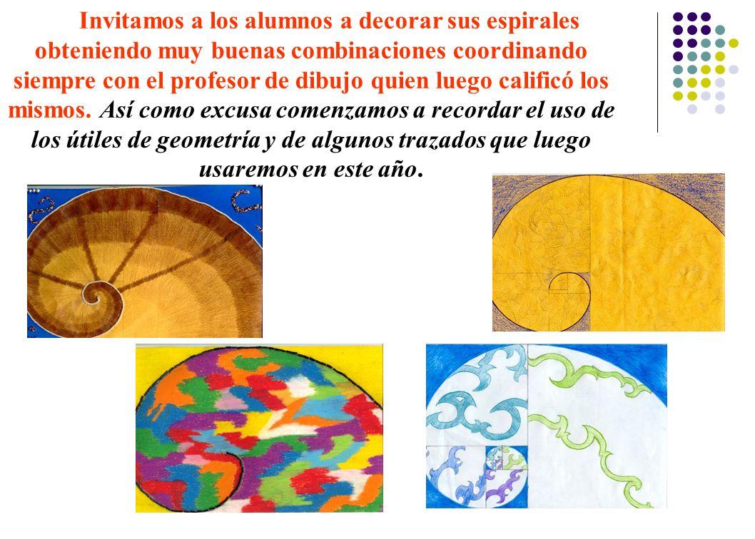 Invitamos a los alumnos a decorar sus espirales obteniendo muy buenas combinaciones coordinando siempre con el profesor de dibujo quien luego calificó los mismos.