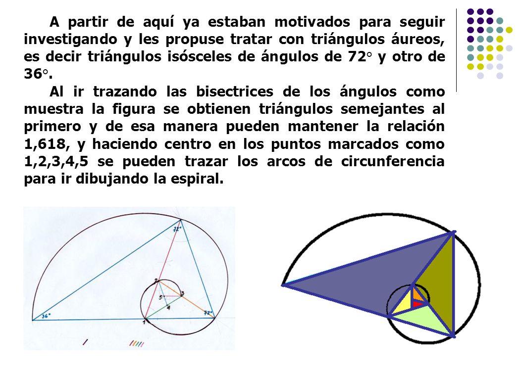 A partir de aquí ya estaban motivados para seguir investigando y les propuse tratar con triángulos áureos, es decir triángulos isósceles de ángulos de 72° y otro de 36°.