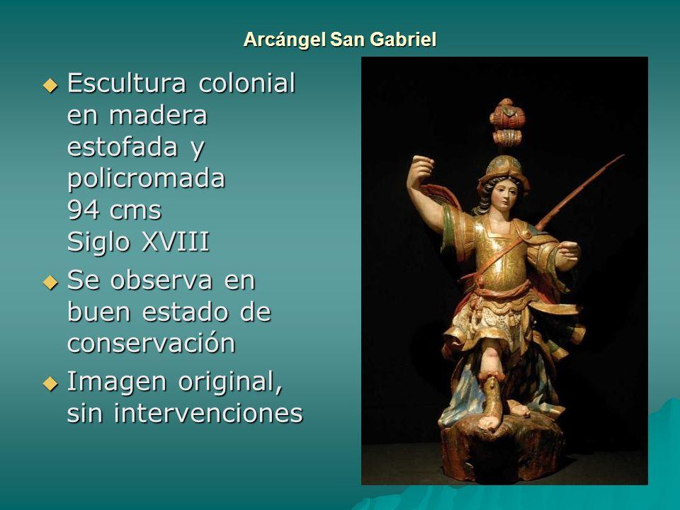 Escultura colonial en madera estofada y policromada 94 cms Siglo XVIII