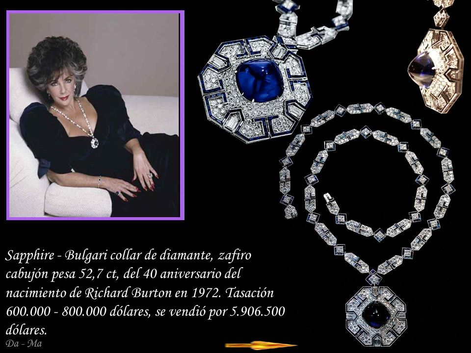 Sapphire - Bulgari collar de diamante, zafiro cabujón pesa 52,7 ct, del 40 aniversario del nacimiento de Richard Burton en 1972.