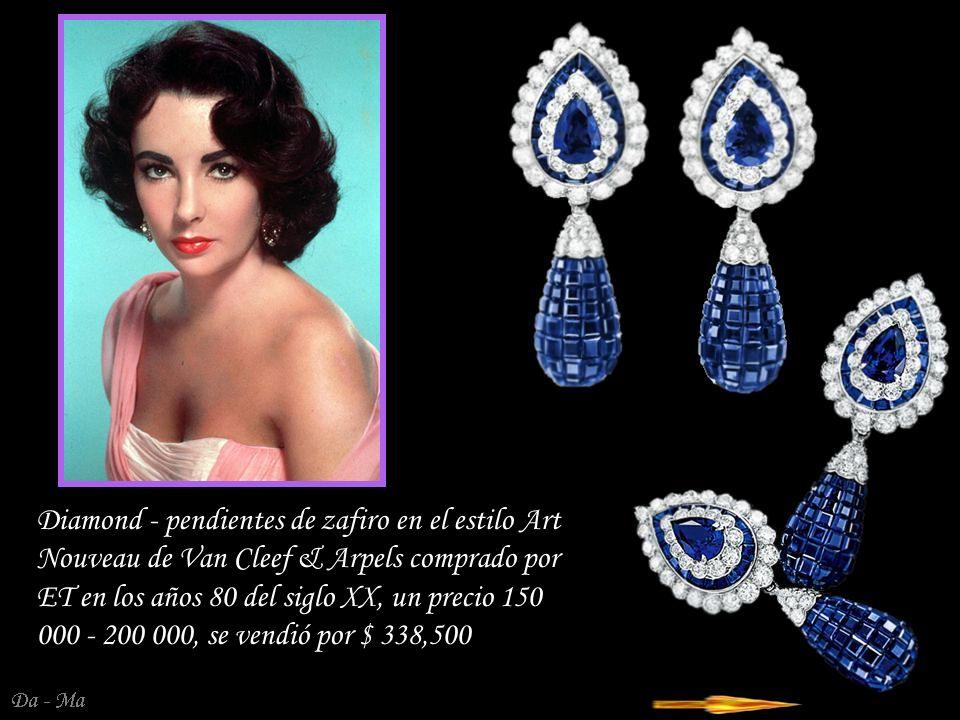 Diamond - pendientes de zafiro en el estilo Art Nouveau de Van Cleef & Arpels comprado por ET en los años 80 del siglo XX, un precio 150 000 - 200 000, se vendió por $ 338,500