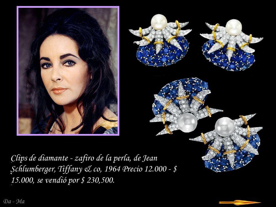 Clips de diamante - zafiro de la perla, de Jean Schlumberger, Tiffany & co, 1964 Precio 12.000 - $ 15.000, se vendió por $ 230,500.