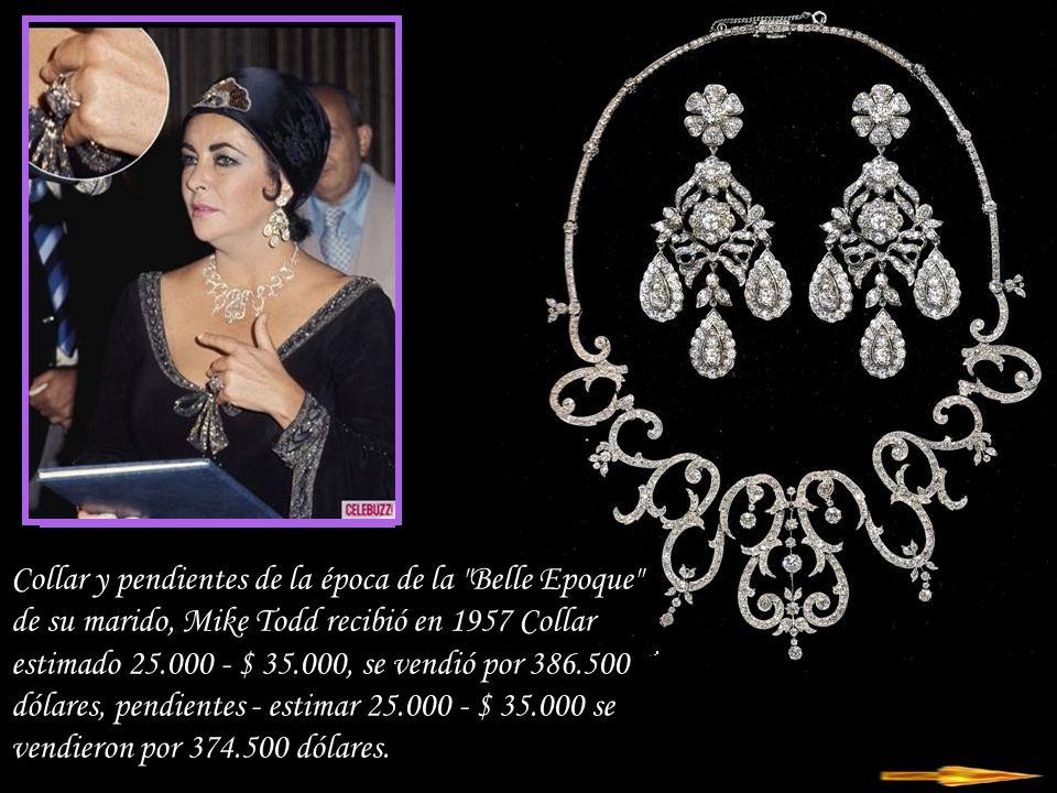 Collar y pendientes de la época de la Belle Epoque de su marido, Mike Todd recibió en 1957 Collar estimado 25.000 - $ 35.000, se vendió por 386.500 dólares, pendientes - estimar 25.000 - $ 35.000 se vendieron por 374.500 dólares.