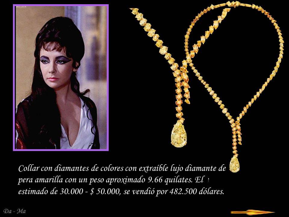 Collar con diamantes de colores con extraíble lujo diamante de pera amarilla con un peso aproximado 9.66 quilates. El estimado de 30.000 - $ 50.000, se vendió por 482.500 dólares.