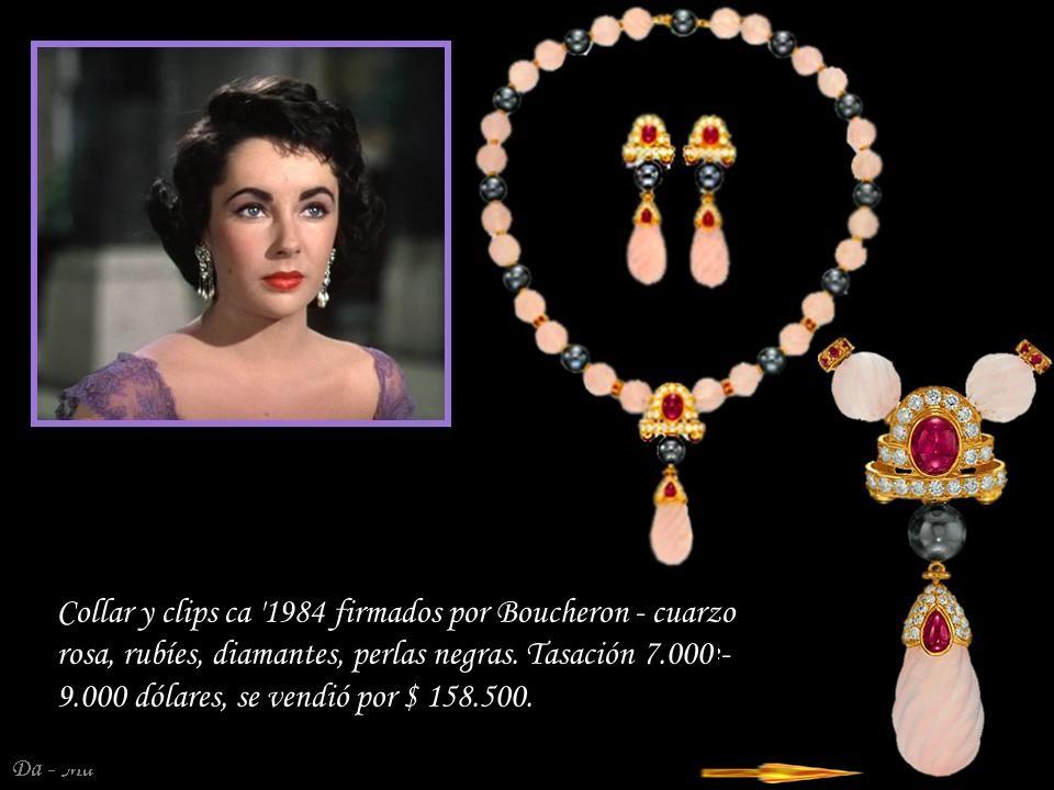 Collar y clips ca 1984 firmados por Boucheron - cuarzo rosa, rubíes, diamantes, perlas negras.