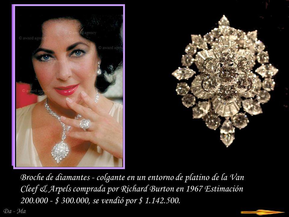 Broche de diamantes - colgante en un entorno de platino de la Van Cleef & Arpels comprada por Richard Burton en 1967 Estimación 200.000 - $ 300.000, se vendió por $ 1.142.500.