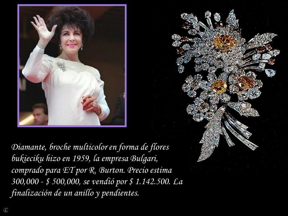 Diamante, broche multicolor en forma de flores bukieciku hizo en 1959, la empresa Bulgari, comprado para ET por R. Burton. Precio estima 300,000 - $ 500,000, se vendió por $ 1.142.500. La finalización de un anillo y pendientes.