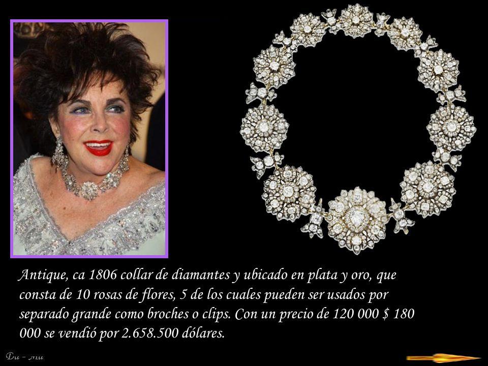 Antique, ca 1806 collar de diamantes y ubicado en plata y oro, que consta de 10 rosas de flores, 5 de los cuales pueden ser usados por separado grande como broches o clips.