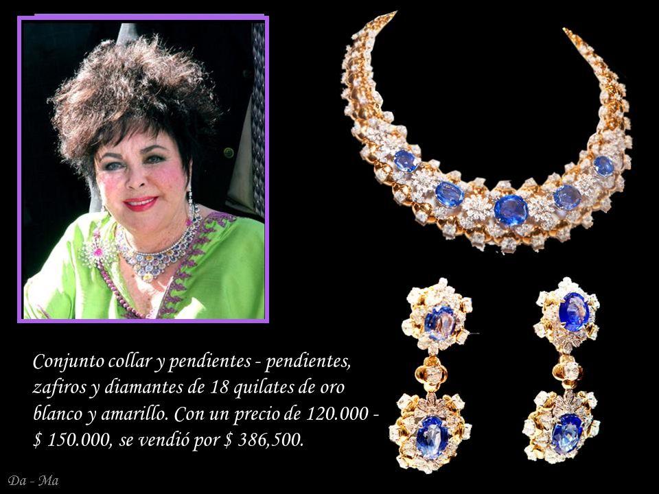 Conjunto collar y pendientes - pendientes, zafiros y diamantes de 18 quilates de oro blanco y amarillo.