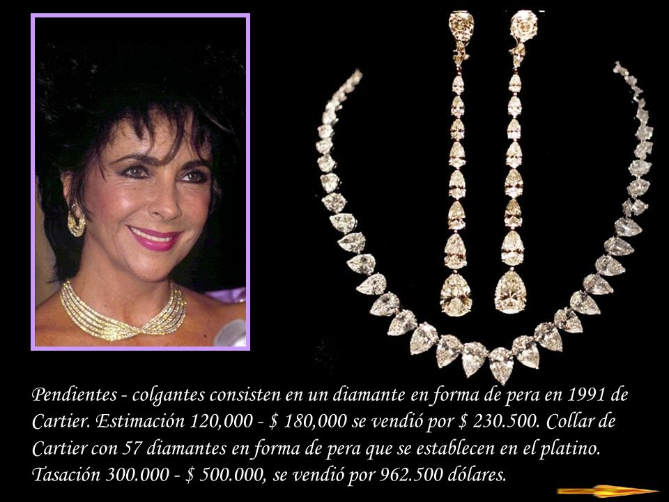 Pendientes - colgantes consisten en un diamante en forma de pera en 1991 de Cartier.