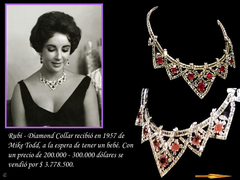 Rubí - Diamond Collar recibió en 1957 de Mike Todd, a la espera de tener un bebé.