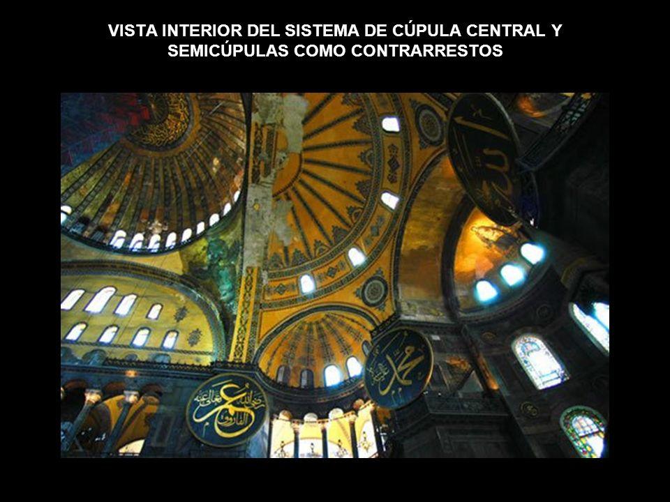 VISTA INTERIOR DEL SISTEMA DE CÚPULA CENTRAL Y SEMICÚPULAS COMO CONTRARRESTOS
