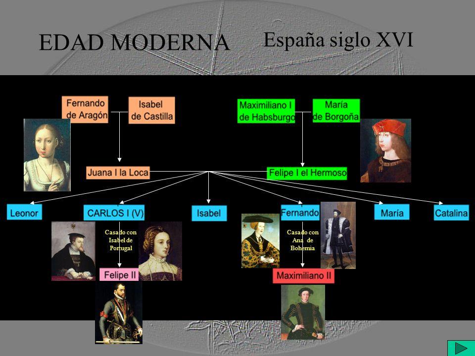 EDAD MODERNA España siglo XVI Casado con Isabel de Portugal