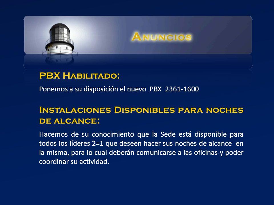 Instalaciones Disponibles para noches de alcance: