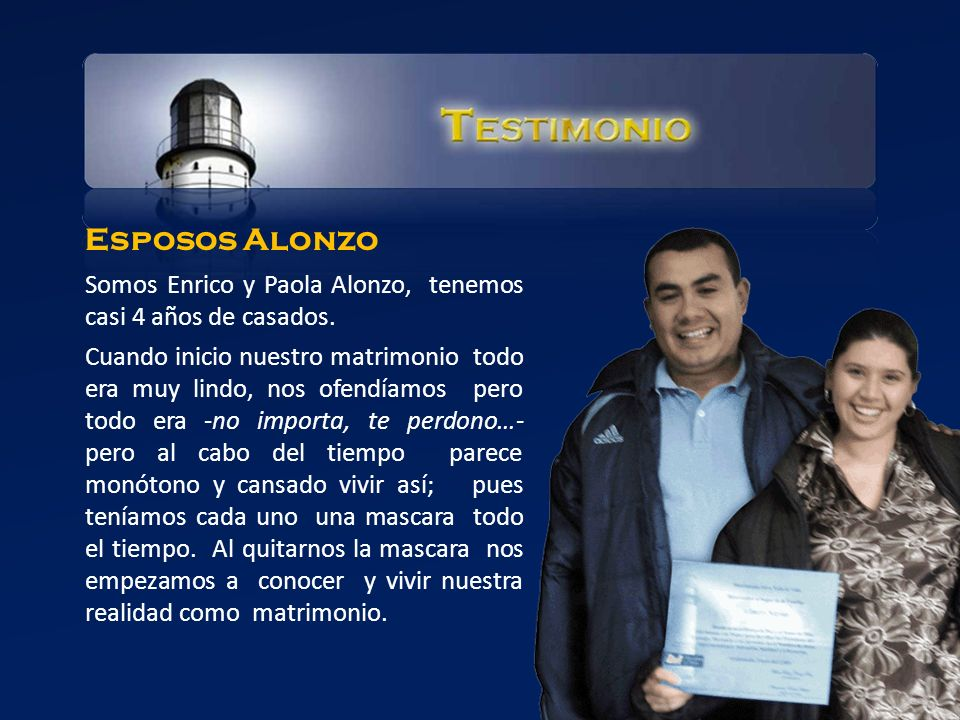 Esposos Alonzo Somos Enrico y Paola Alonzo, tenemos casi 4 años de casados.