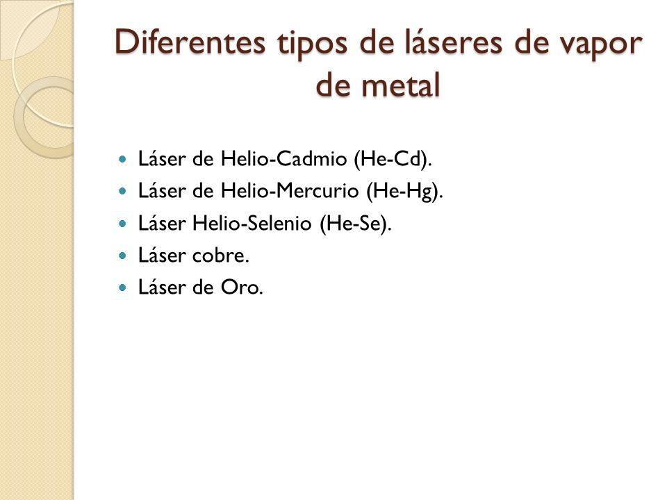 Diferentes tipos de láseres de vapor de metal