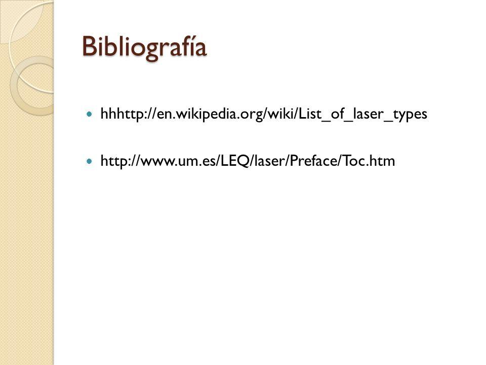 Bibliografía hhhttp://en.wikipedia.org/wiki/List_of_laser_types